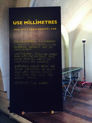Pick Me Up Festival poster advocating the use of millimetres over centimetres
